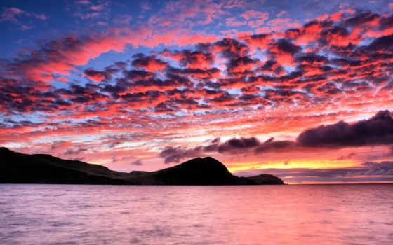 закат, море, рассвет