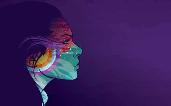 profile, девушка, devushki, рисунок, краски, вектор,