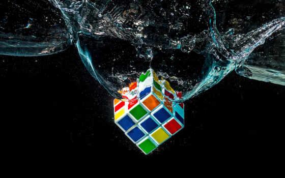 кубик, рубика, макро, water, воду, falling, puzzle,