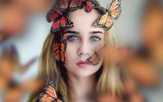 бабочки, девушка, лице