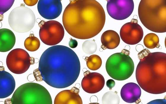 год, новый, шары, праздник, разноцветные,