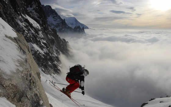 снег, лыжник, горы, небо, спуск, спорт, облака,