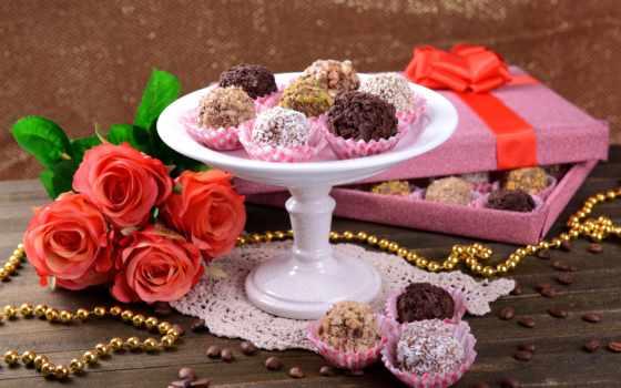 цветы, конфеты, chocolate