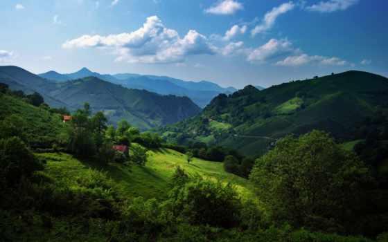 горы, зелёный, испания, холмы, кантабрийские, астурия, природа, oblaka, трава, небо, trees,