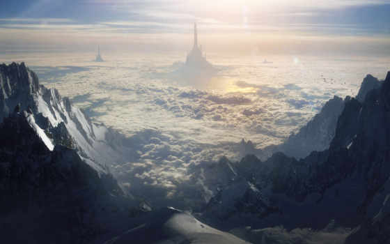 горы, небо, xenomorph, full, art, меня, скалы, мне, изображения, цветы,