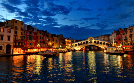 venezia, venice, канал, дома, лодки, italian, вечер, italy, огни, гондолы, венеции,