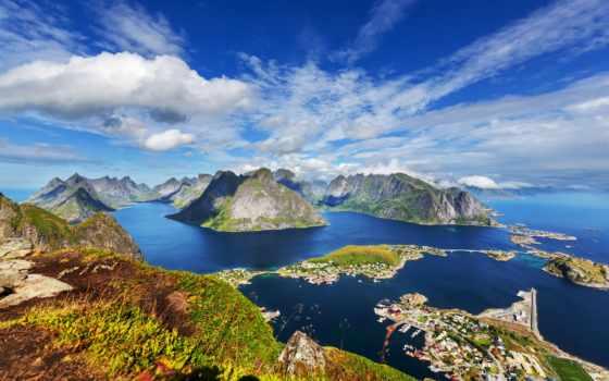 norwegian, landscape, горы, лофотенские, острова, reki, норвегия, город, bay, дома, природа,