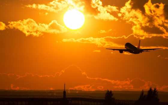 sun, самолёт, взлетает, утро, rising, takeoff, oblaka, небо, солнцу, самолеты,