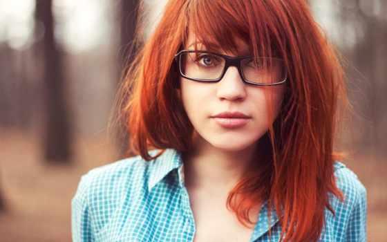 девушка, devushki, очки, очках, рыжая, свет, модель, рыжеволосая, лицо, рубашка,