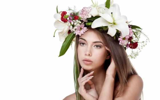 девушка, cvety, flowers, венок, красоты, цветы, домашних, волос,