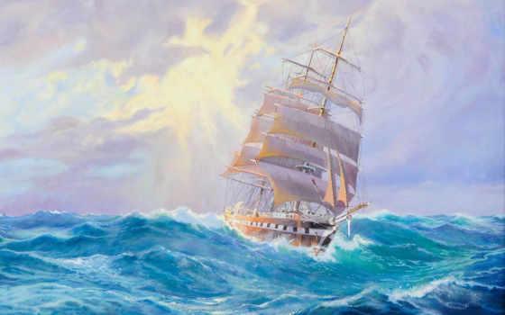 корабль, море, sailboat, waves, высоком, корабли, качестве, небо, art, базе,