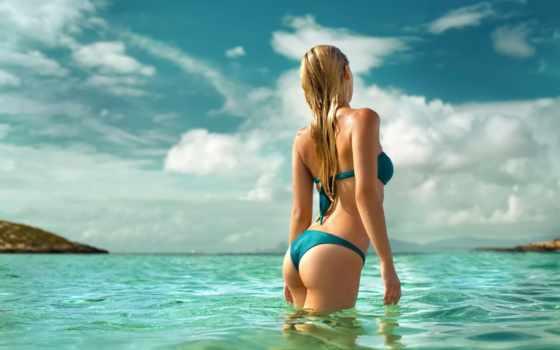 девушка, море, девушек, спины, купальнике, спинои, пляже, блондинки, красивые, фотографий,