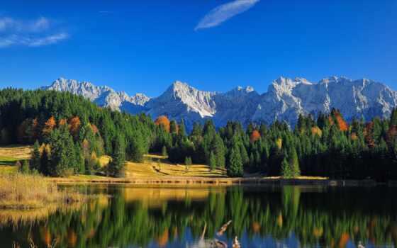 облако, гора, свет, озеро, water, сарай, небо, fore, отражение, берег, природа