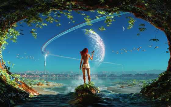 небо, water, fantastic, девушка, rosa, артур, planet, птица