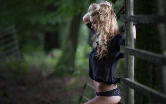kryptonitebush, модель, black, midriff, волосы, женщина, одеть, panties, frau, outdoors, blonde