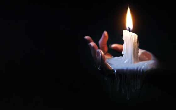 свеча, свет, рука, огонь, кисточка