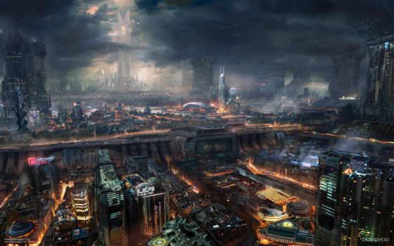 фантастика, ночь, будущее