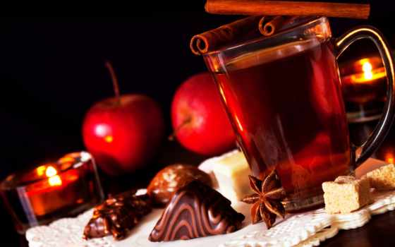 chocolate, cinnamon, чая, сахар, яблоки, sweets, свечи,