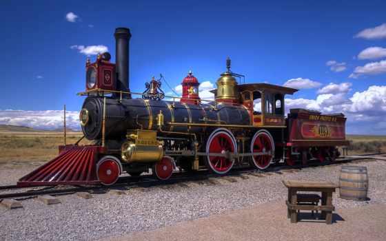 локомотив, сша, utah, железная, дорога, пустыня, старый,