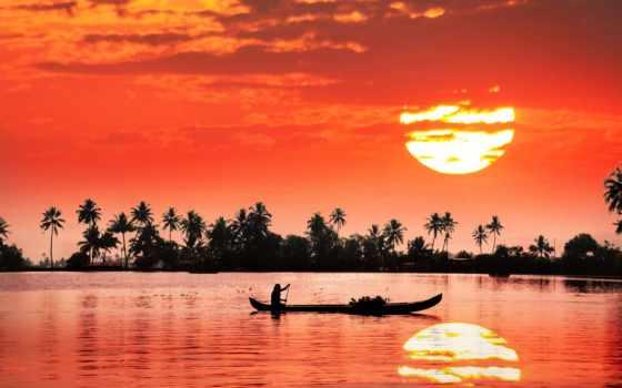 закат, india, лодка, отражение, sun, река, мужчина, берег, красивая,