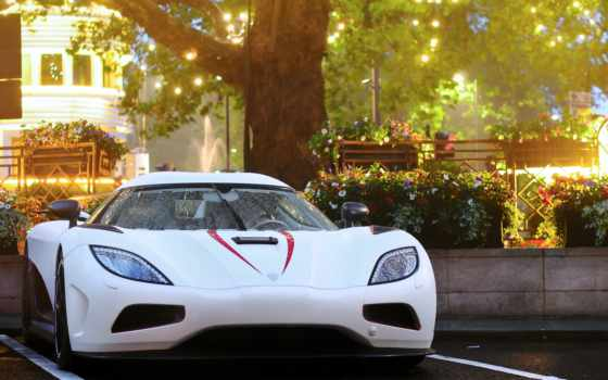 koenigsegg, agera, вечер, автомобили, london, город, авто, машины, огни, парковка, дождь,