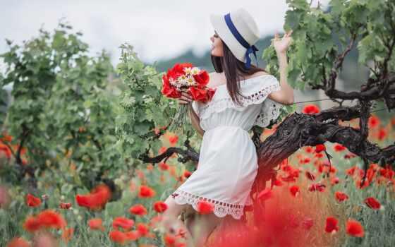 ромашка, букет, poppy, девушка, цветы, white, фон, фотограф, rompecabeza, ксения, модель