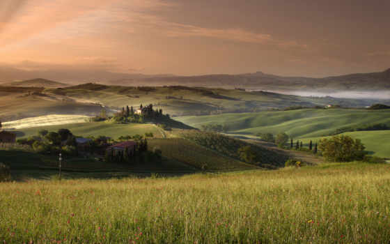 tuscany, поля, небо, desktopwallpapers, коллекция, картинок,