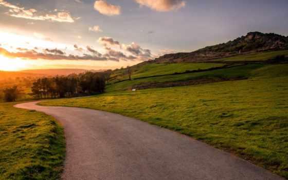 дорога, закат, landscape