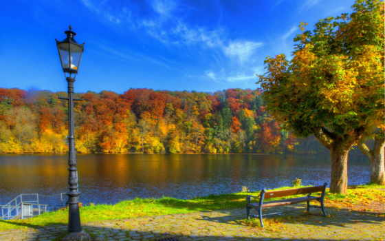 осень, фонари, германия