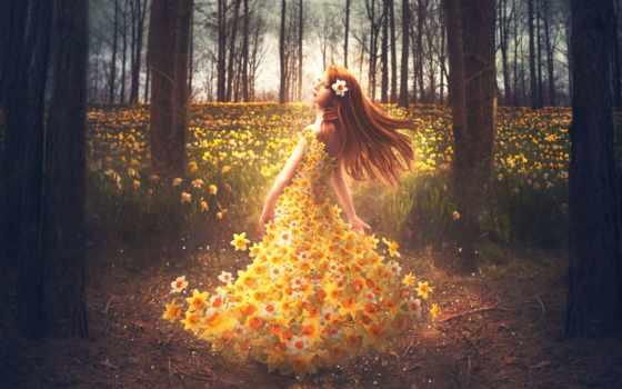 цветы, платье, нарциссы, девушка, design, shelby, робинзон, креатив, цветов,