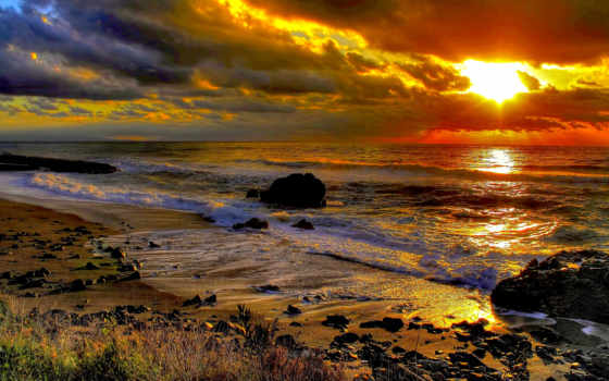 пляж, ocean, закат, море, landscape, waves, beaches, заставки,