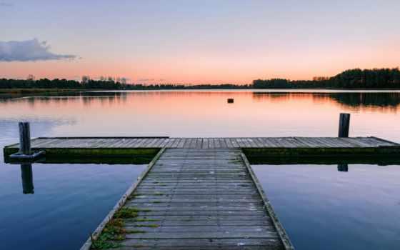 озеро, sushi, рыба, trees, unseen, мост, закат,