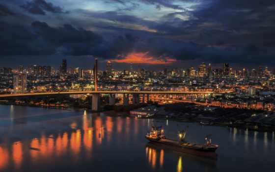 город, ночь, вечер, опубликовано, отражение, тайланде, картинка, отографии,