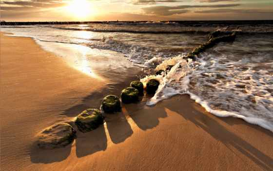 brzeg, morza, zachód