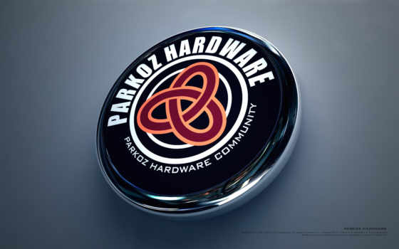 parkoz hardware community, лого, 3Д, круглый