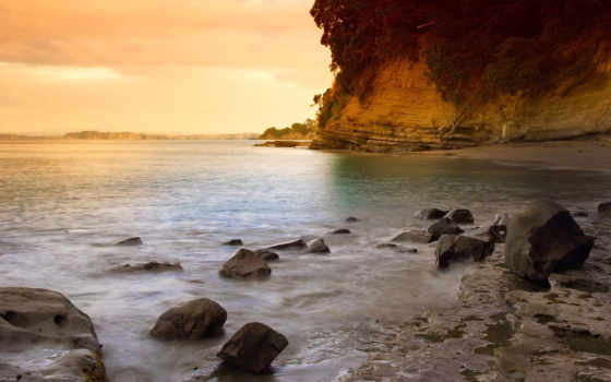 закат, пляж, камни