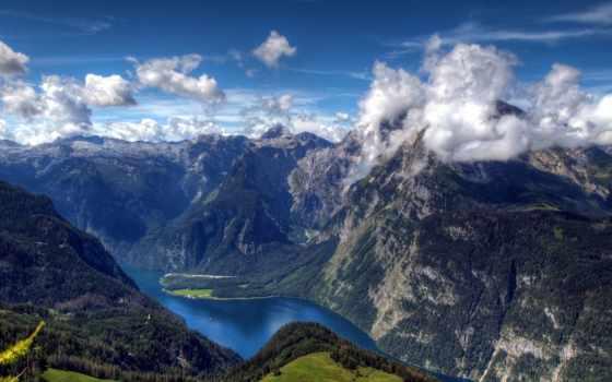 königssee, пейзажи -, германия, оц, бавария, день, природа, bavarian, альпы, река,