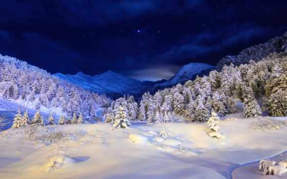 природа, ночь, снег, winter, река, водопад, trees, елки,