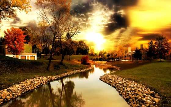 небо, осень, день, trees, разных, парке, waters, речушка,