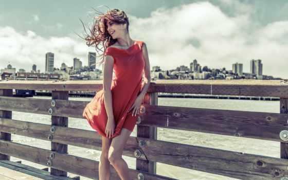 платье, девушка, girls, ветер, улыбка, настроение, anime,