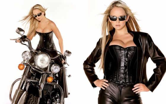 corset, leather, blonde, browse, девушка, очки, мотоцикл, кожаном, корсете,