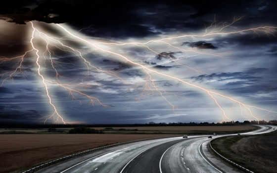 буря, lightning, природные, явления, дорога,