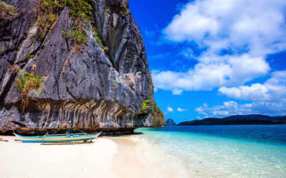 rock, пляж, philippines, побережье, море, облако, лодка, песок