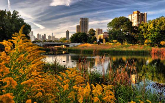 осень, город, landscape, природа, река, chicago,
