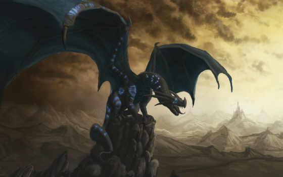 дракон, скалы, black, fantasy, крылья, скале, castle,