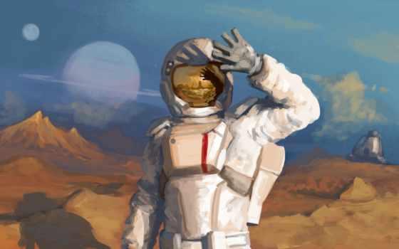 космонавт, шлем, скафандр, отражение, planet, свет, астронавт, картинка,