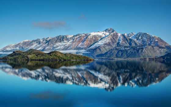 горы, море, природа, небо, water, landscape, zealand, новая, гора, телефон,