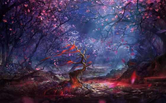 fantasy, лес, landscape, дерево, fore, wood, cherry, камень, little