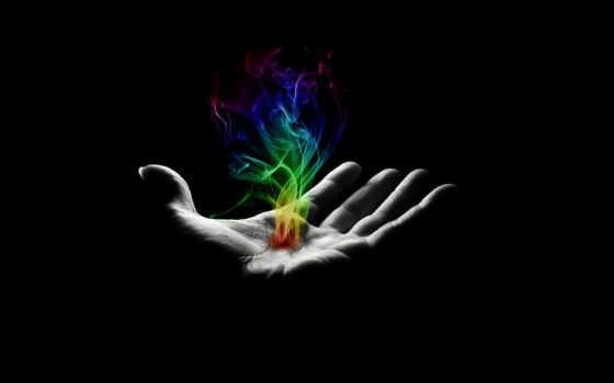 рука, дым