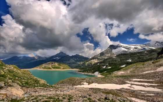 горы, озеро, облака, небо, desktop, high, то, снег, вода, landscape, камни, nature, горах, alpine,